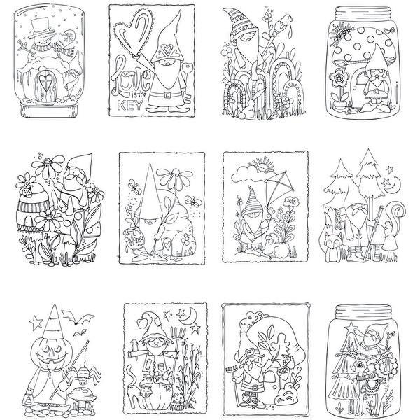 """Mini Adult Coloring Book  Shop ArtPlay Watercolor Paper Mini Coloring Book 4""""X6"""" 12"""