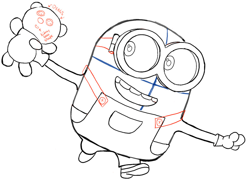 Minions Coloring Pages Bob  How to Draw Bob the Minion with a Teddy Bear from The