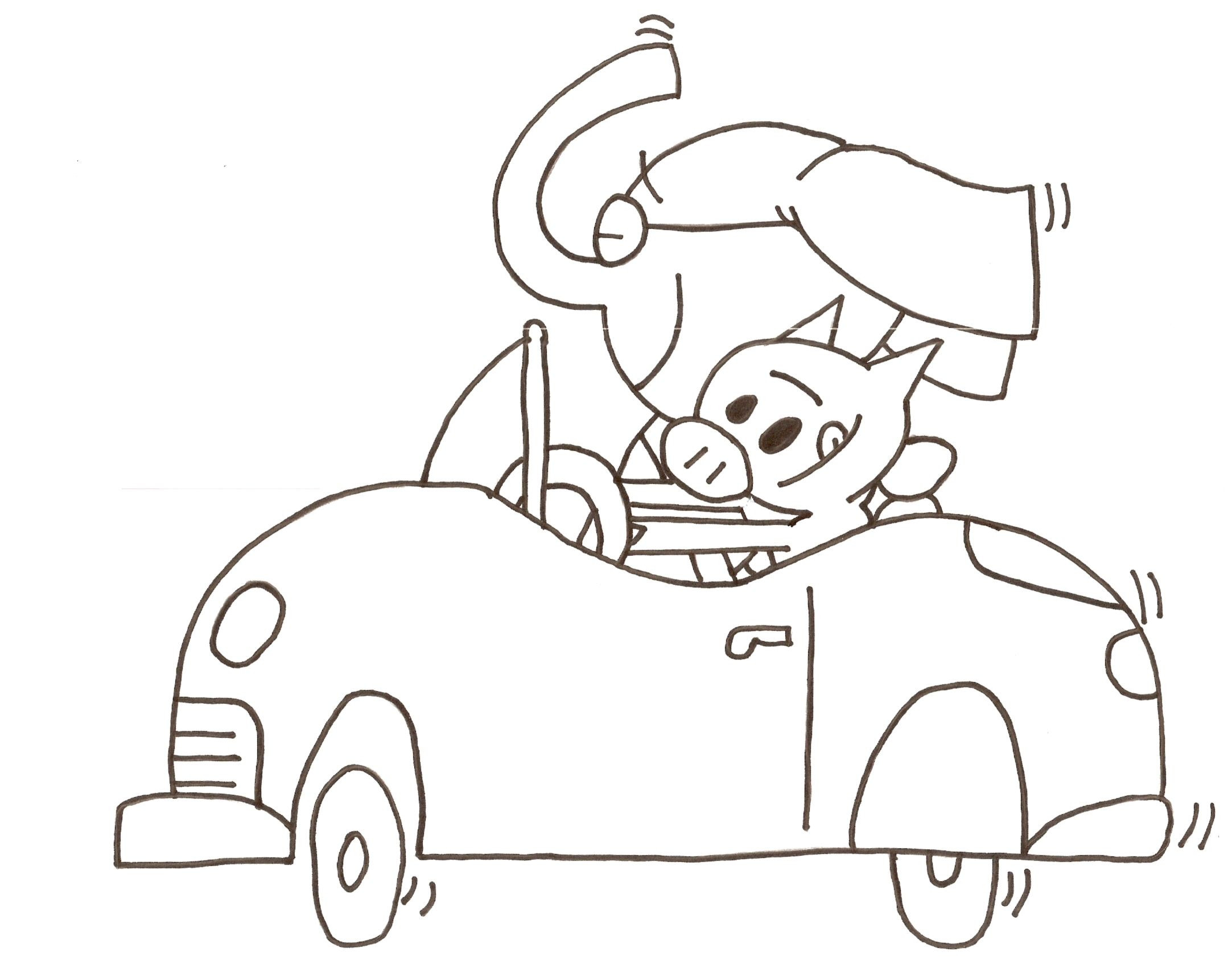 "Mo Willems Coloring Pages  Elephant & Piggie coloring sheet ""Let s Go for a Drive"