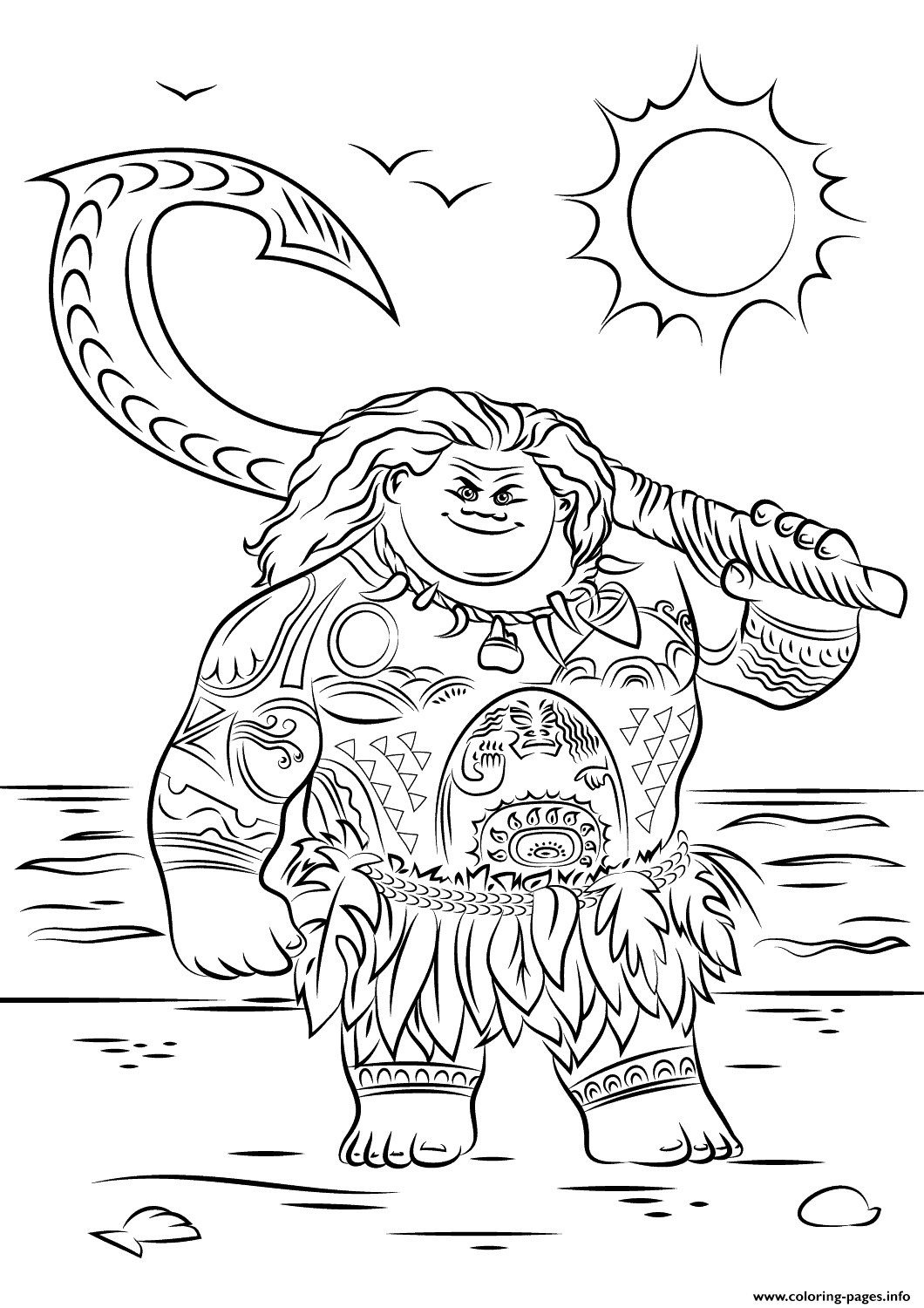 Moana Coloring Pages Pdf  Maui From Moana Disney Coloring Pages Printable