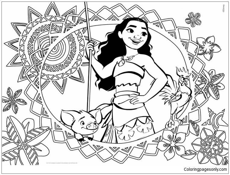 Moana Coloring Pages Pdf  Moana Cover Coloring Page Free Coloring Pages line