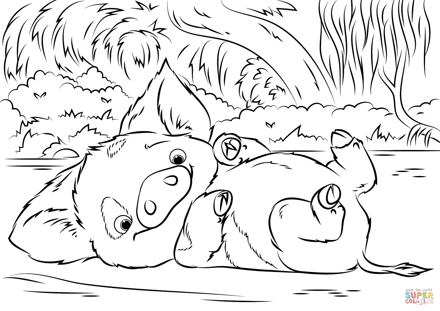 Moana Pua Coloring Pages  Pua Pet Pig from Moana coloring page