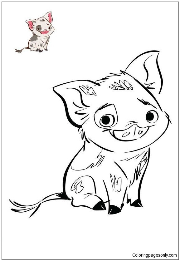 Moana Pua Coloring Pages  Pua Pig From Moana 4 Coloring Page Free Coloring Pages