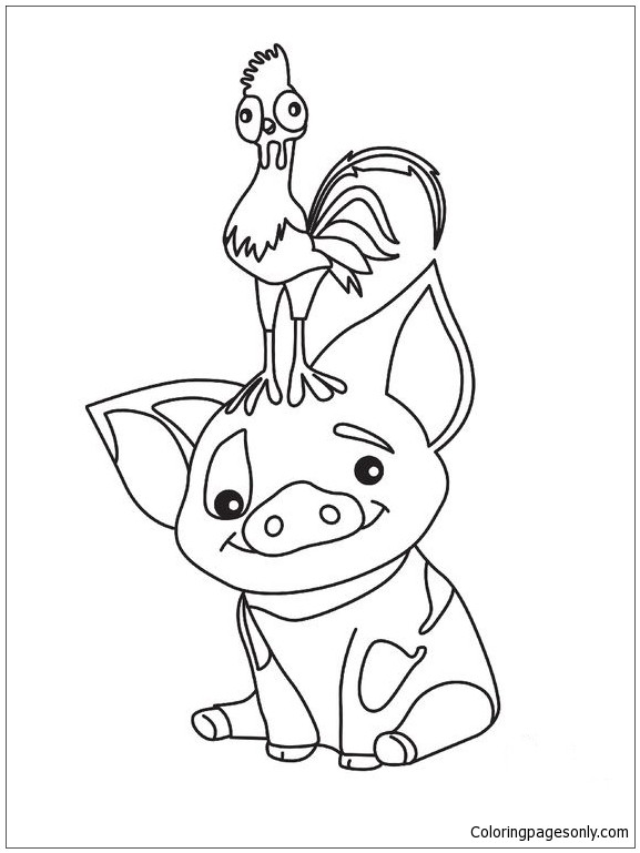 Moana Pua Coloring Pages  Pua Pig From Moana 3 Coloring Page Free Coloring Pages