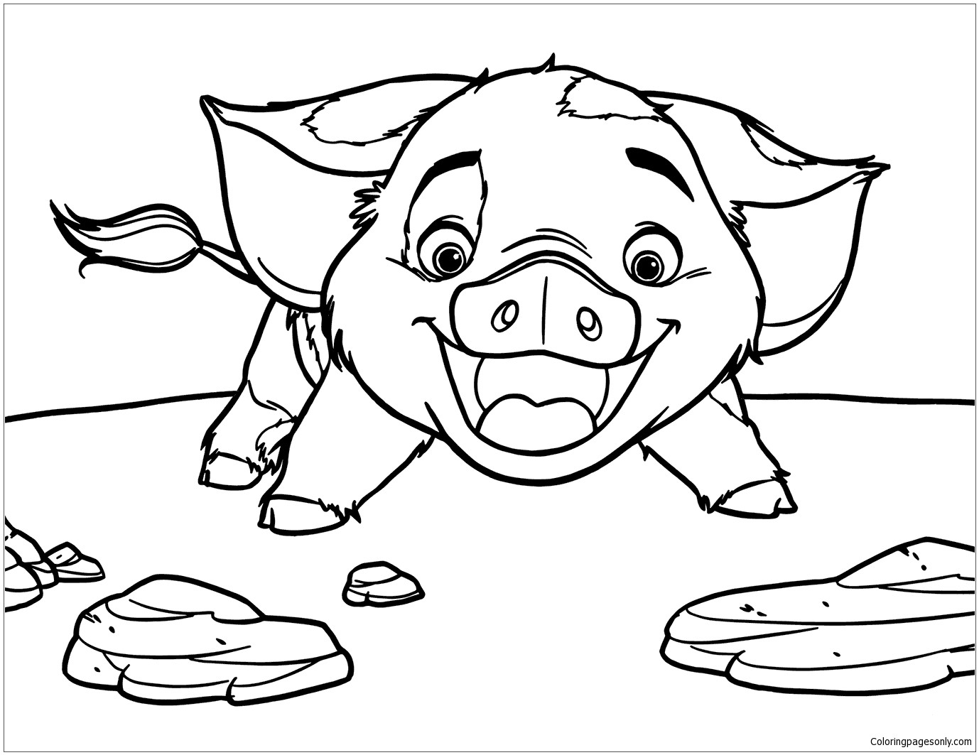 Moana Pua Coloring Pages  Pua Pig From Moana 5 Coloring Page Free Coloring Pages