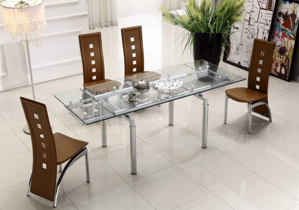 Best ideas about Modern Dining Table Set . Save or Pin Extendable Clear Glass Top Leather Modern Dining Table Now.