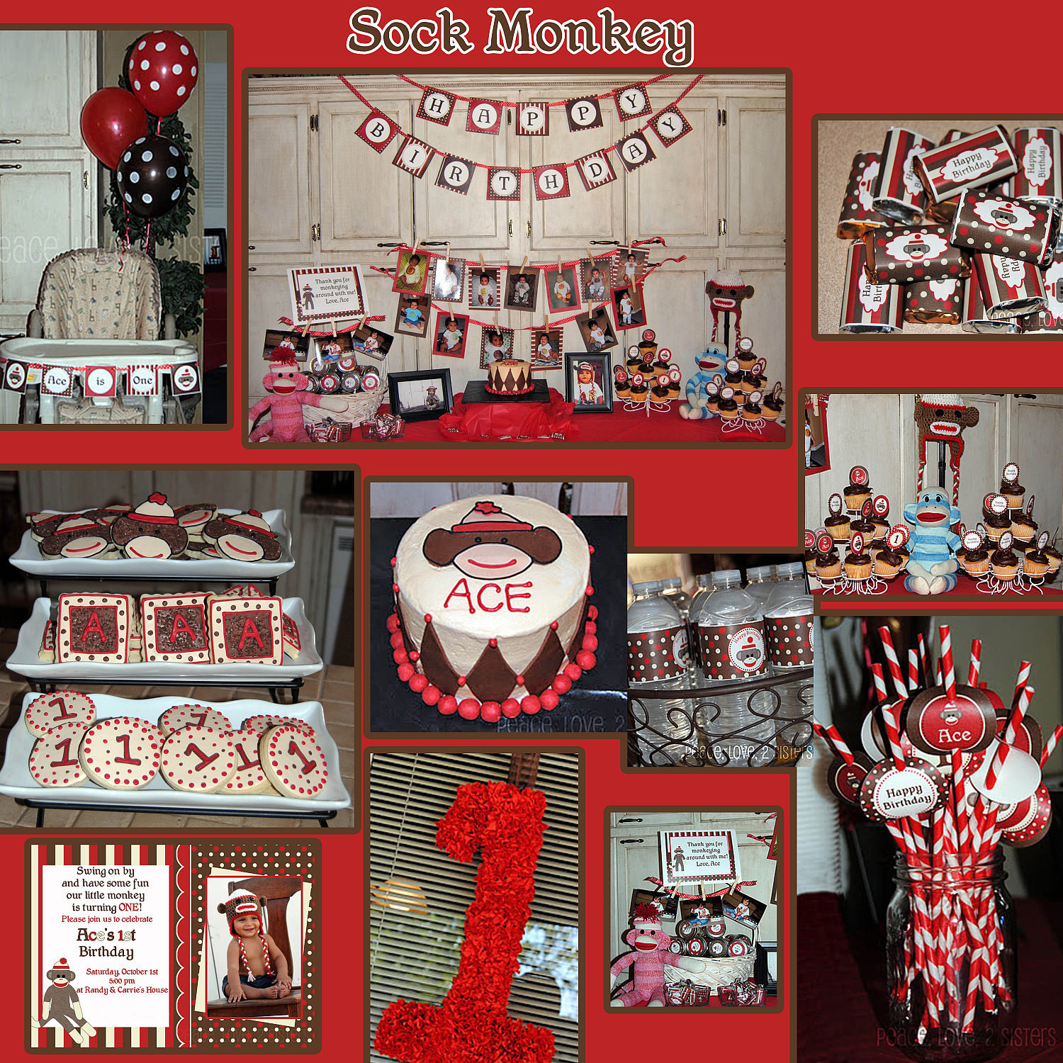 Monkey Birthday Party  Sock Monkey Deluxe Birthday Party DIY PRINTABLE Part Package
