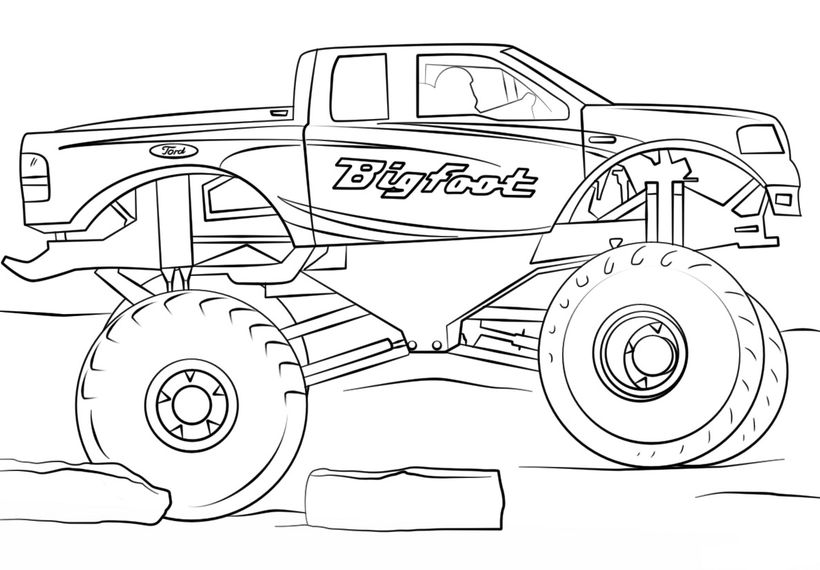 Monster Trucks Coloring Pages  Easy Monster Truck Coloring Page Free Coloring Pages line