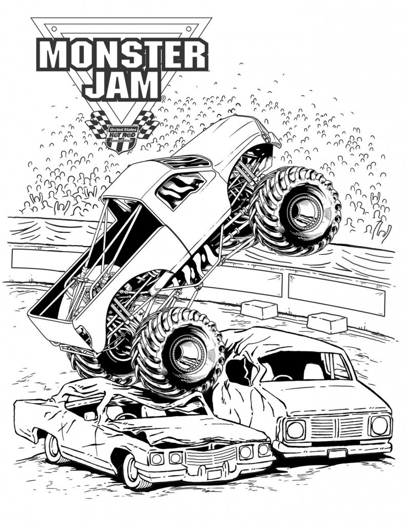 Monster Trucks Coloring Pages  Advance Auto Parts Monster Jam Ticket Giveaway The