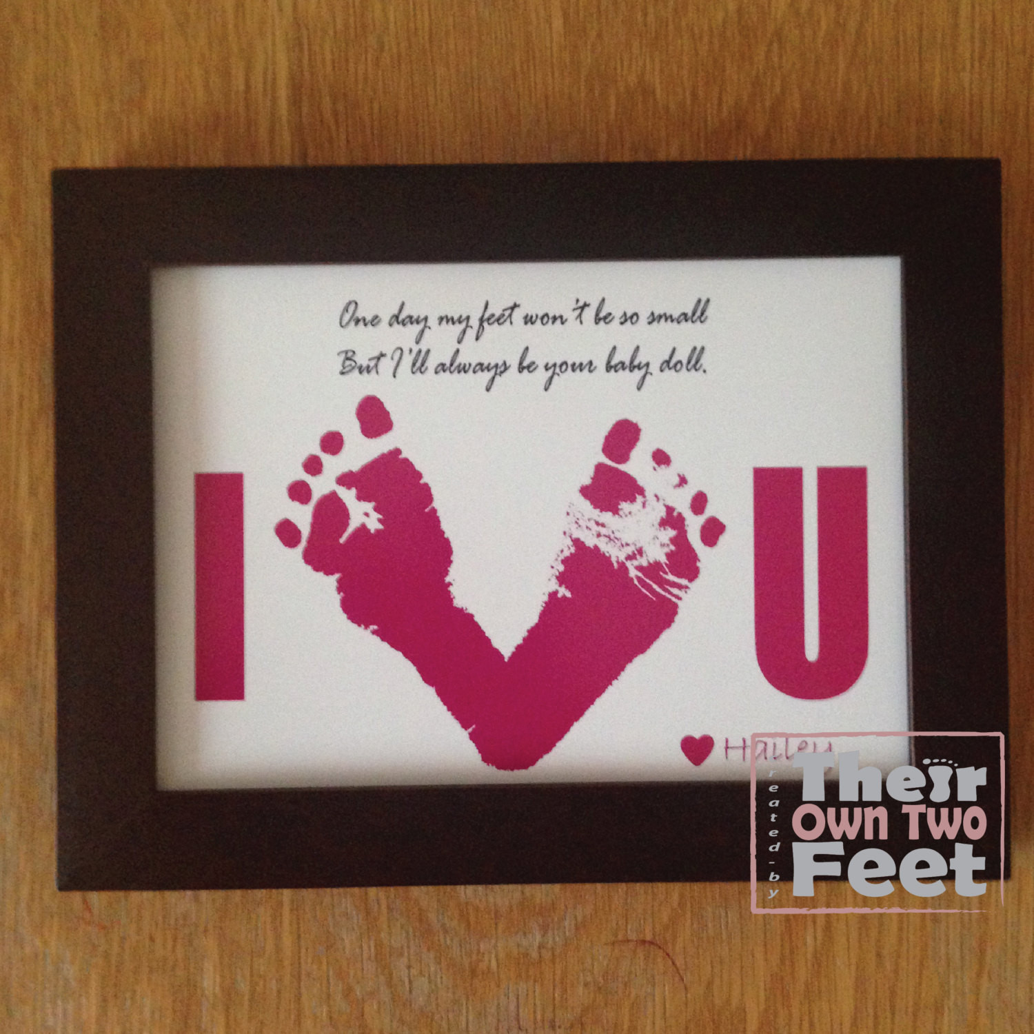 Mother'S Day Gift Ideas From Baby  Baby Footprints Card for New Dad or Mom Gift from Baby Girl