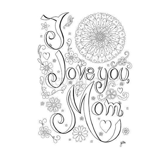 Mothers Day Coloring Pages For Adults  Items similar to coloring page Love Mom printable