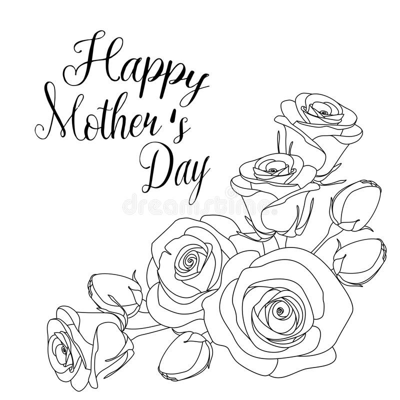 Mothers Day Coloring Pages For Adults  Mothers Day Greeting Card With Roses Coloring Page For