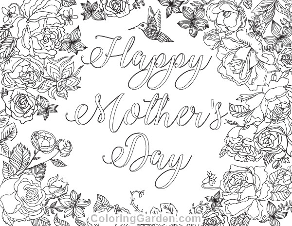 Mothers Day Coloring Pages For Adults  Free printable Happy Mother s Day adult coloring page