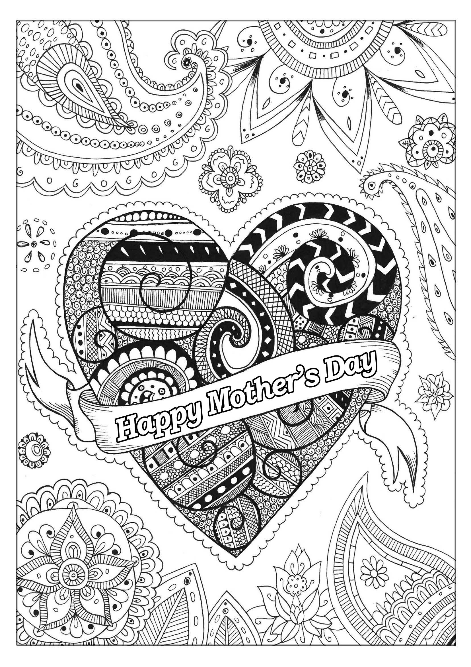 Mothers Day Coloring Pages For Adults  Mother s day 2 Mother s Day Adult Coloring Pages