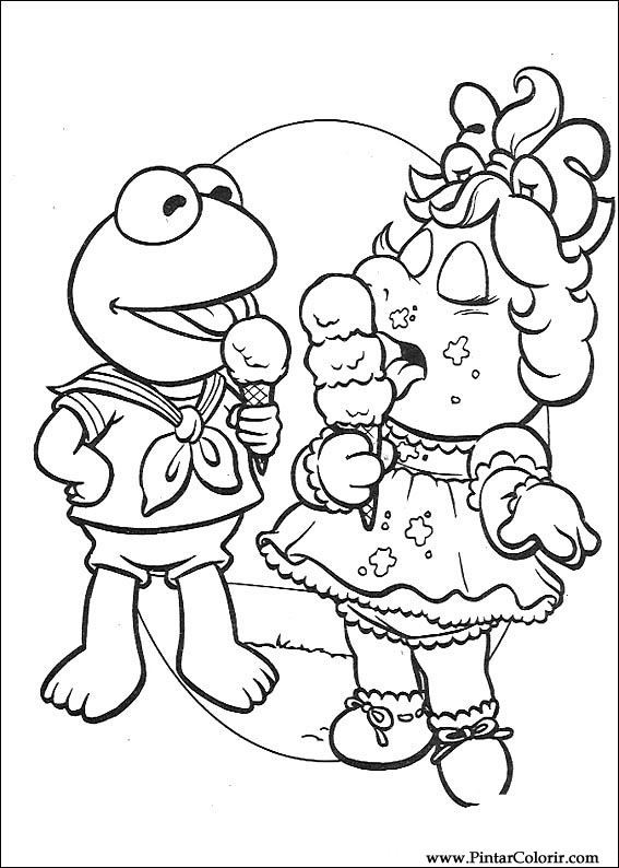 Muppets Coloring Book Pages  Drawings To Paint & Colour Muppet Babies Print Design 050