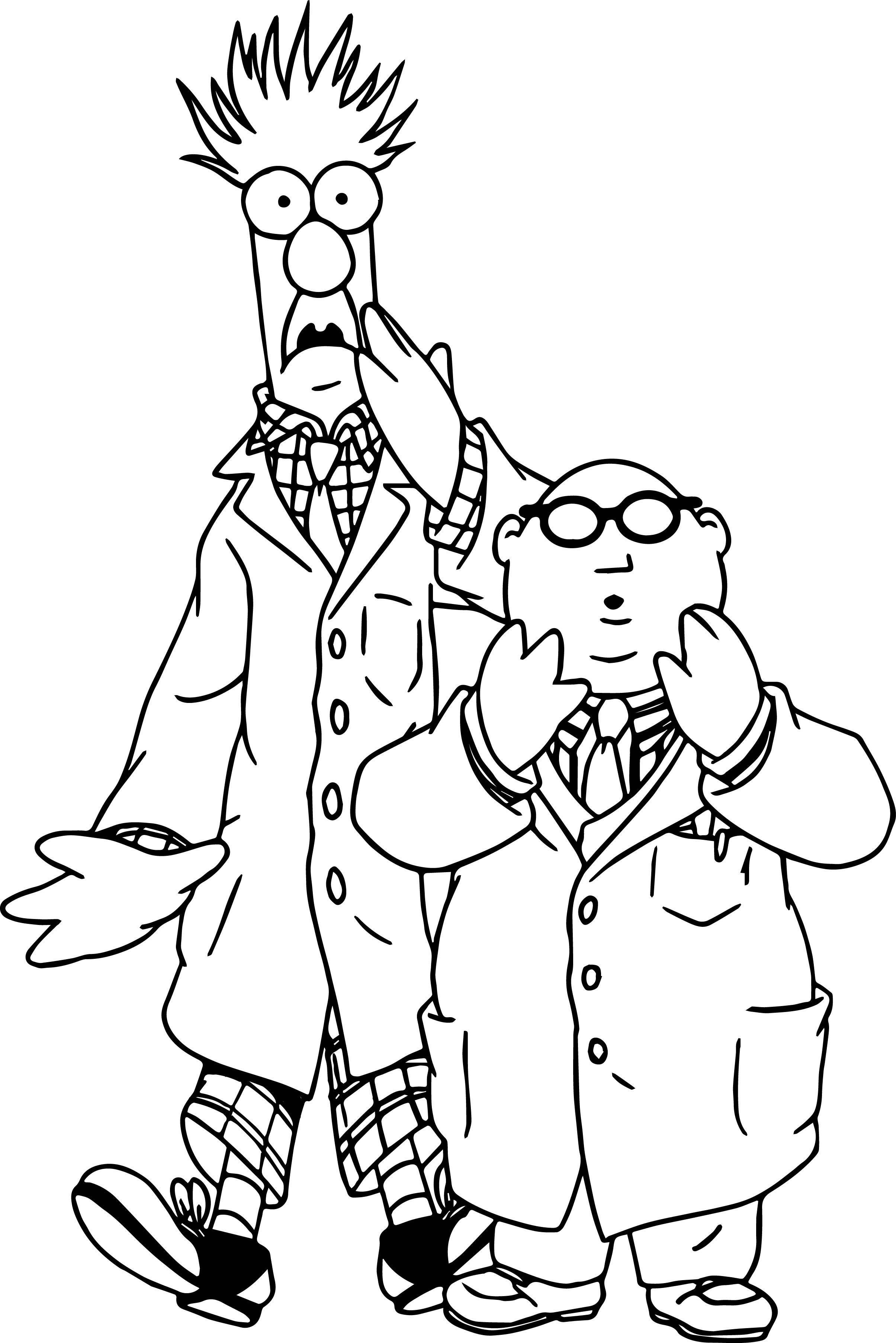 Muppets Coloring Book Pages  The Muppets Beaker Bunsen Honeydew Shocking Coloring Pages