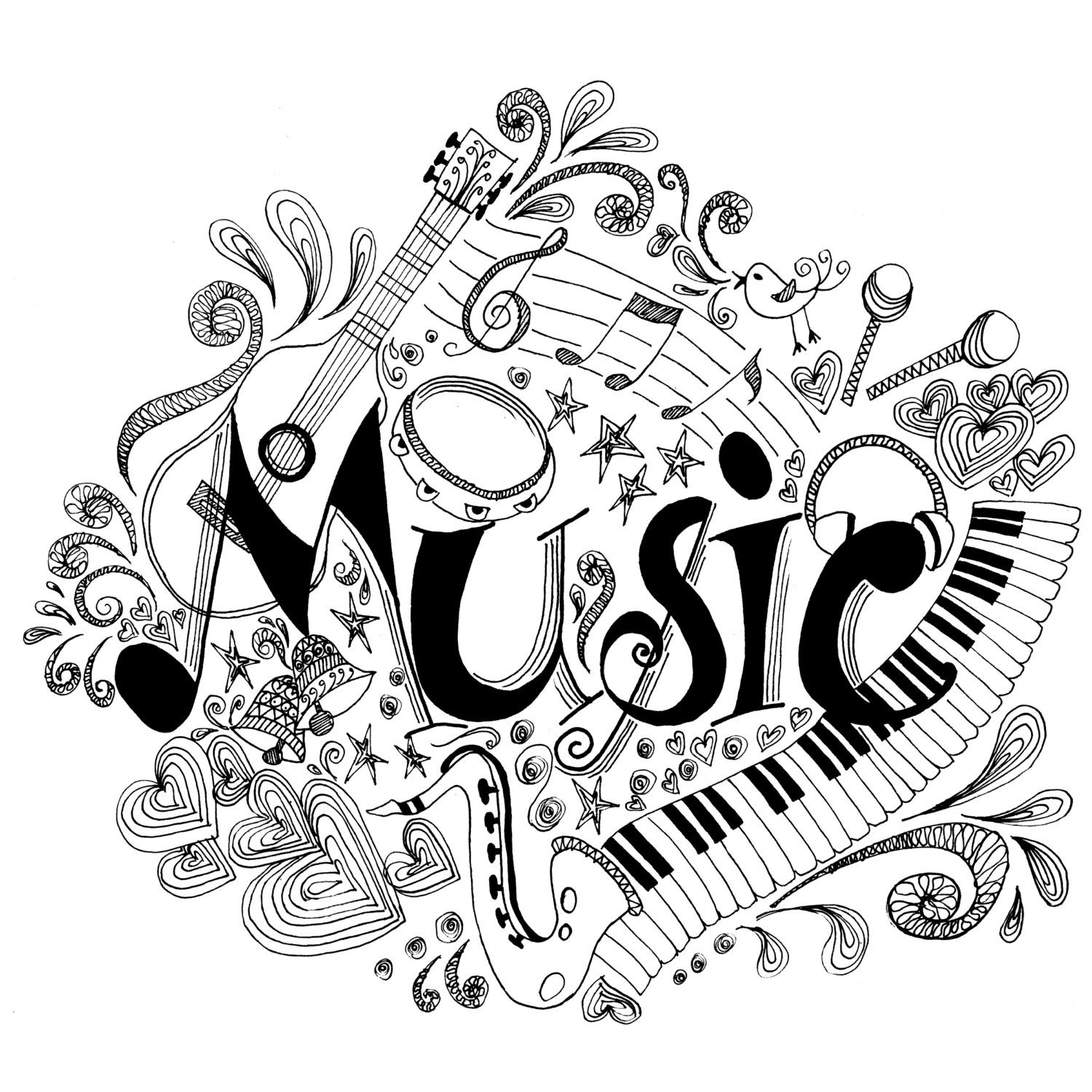 Best ideas about Music Crafts For Adults . Save or Pin Printable Coloring Page Zentangle Music Coloring Book Now.