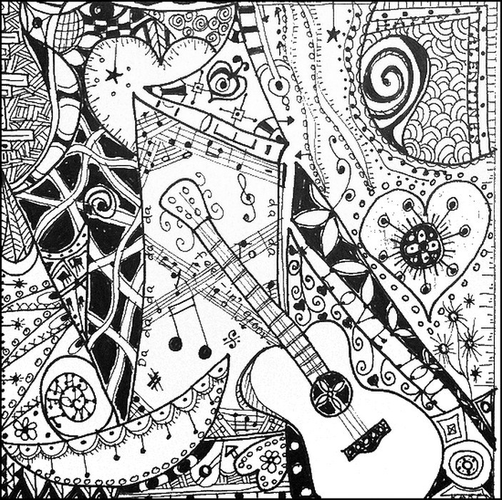 Best ideas about Music Crafts For Adults . Save or Pin Art Therapy coloring page music I like the guitar 7 Now.