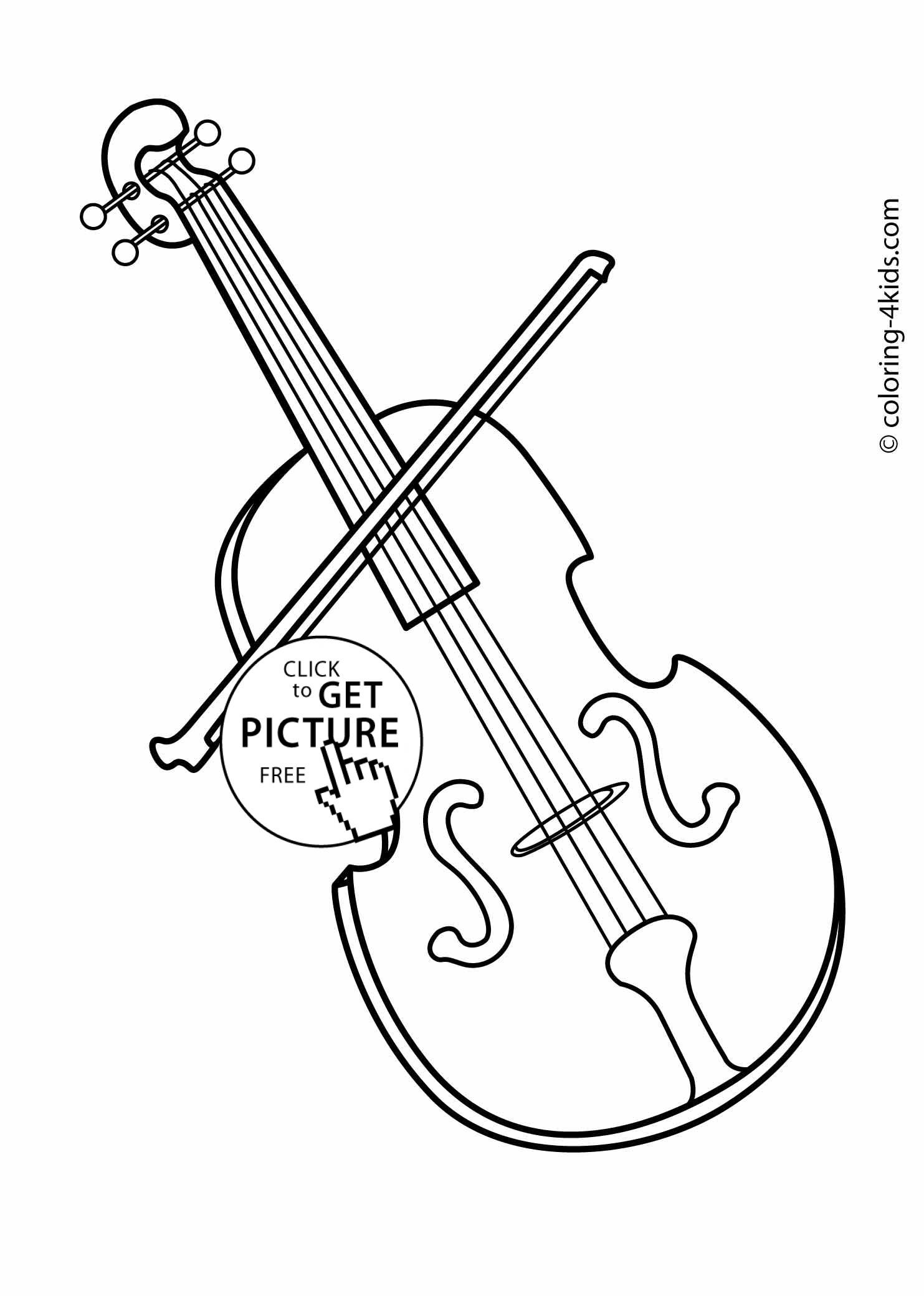 Musical Coloring Pages For Kids  Printable Musical Instruments Free Clipart