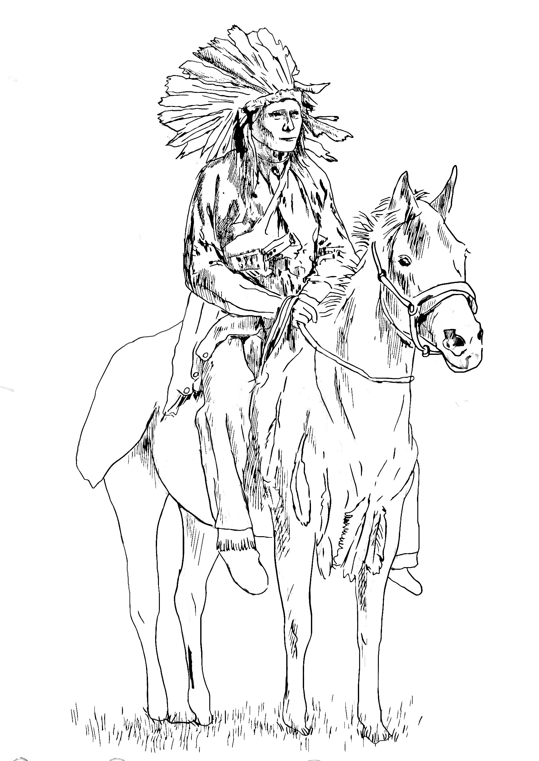 Native American Printable Coloring Pages  Native american on his horse Native American Adult