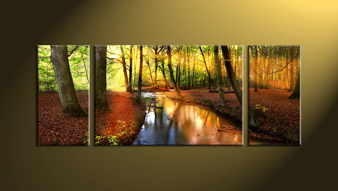 Best ideas about Nature Wall Art . Save or Pin 3 Piece Colorful Canvas Scenery Trees Huge Now.