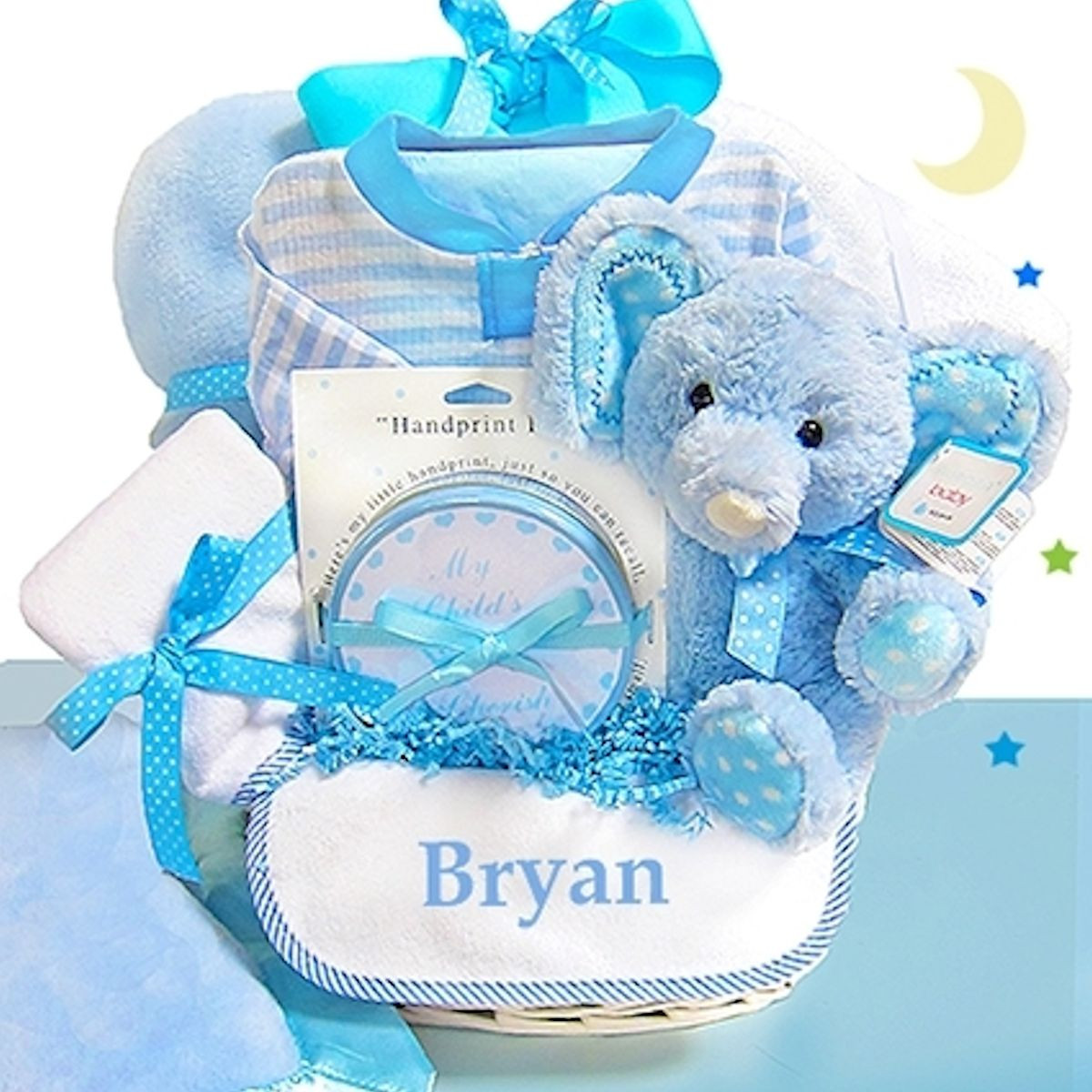 Best ideas about Newborn Baby Boy Gift Ideas . Save or Pin Baby Boy Gift Basket Blue Elephant Now.