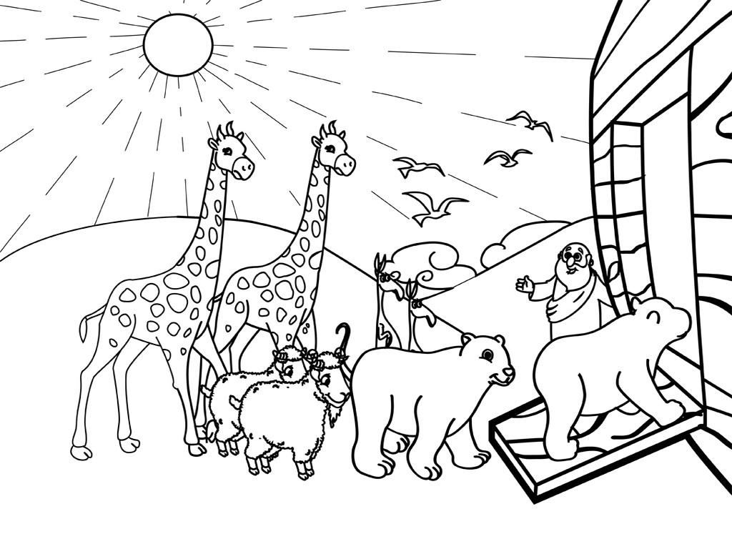 Noah Coloring Pages  Noahs Ark PNG Black And White Transparent Noahs Ark Black