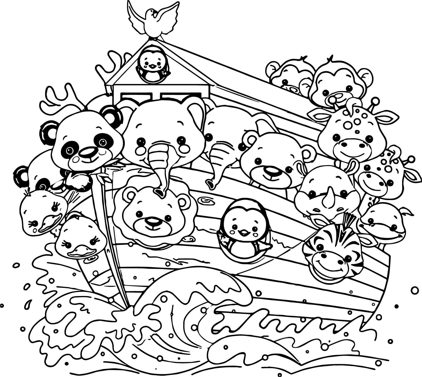 Noah Coloring Pages  Noah Ship Cartoon Coloring Page