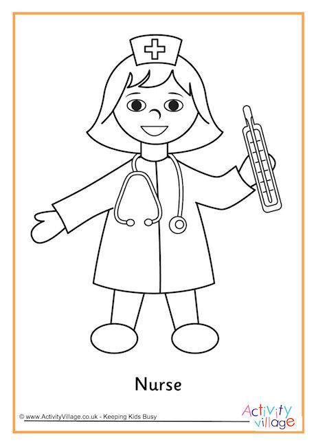 Nurse Coloring Pages For Kids  Nurse Colouring Page 2