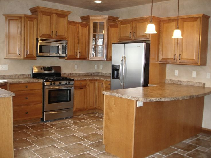 Best ideas about Oak Cabinets Kitchen Ideas . Save or Pin 20 Kitchen Flooring Ideas With Oak Cabinets Now.