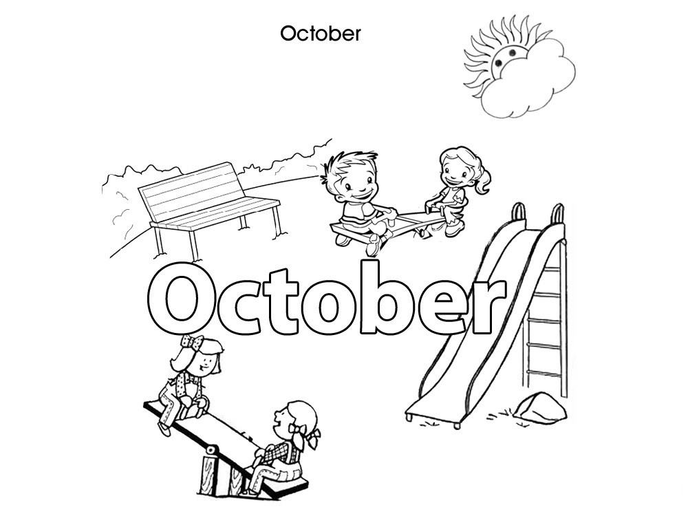 October Coloring Pages For Kids  Activities For Kids October Colouring In