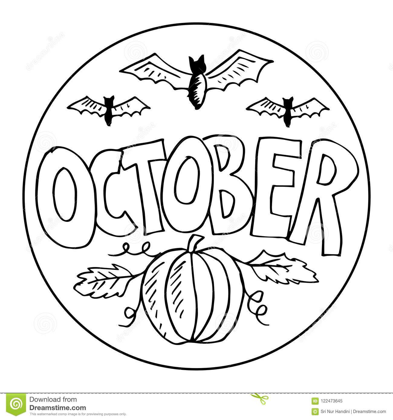 October Coloring Pages For Kids  October Coloring Pages For Kids Stock Vector