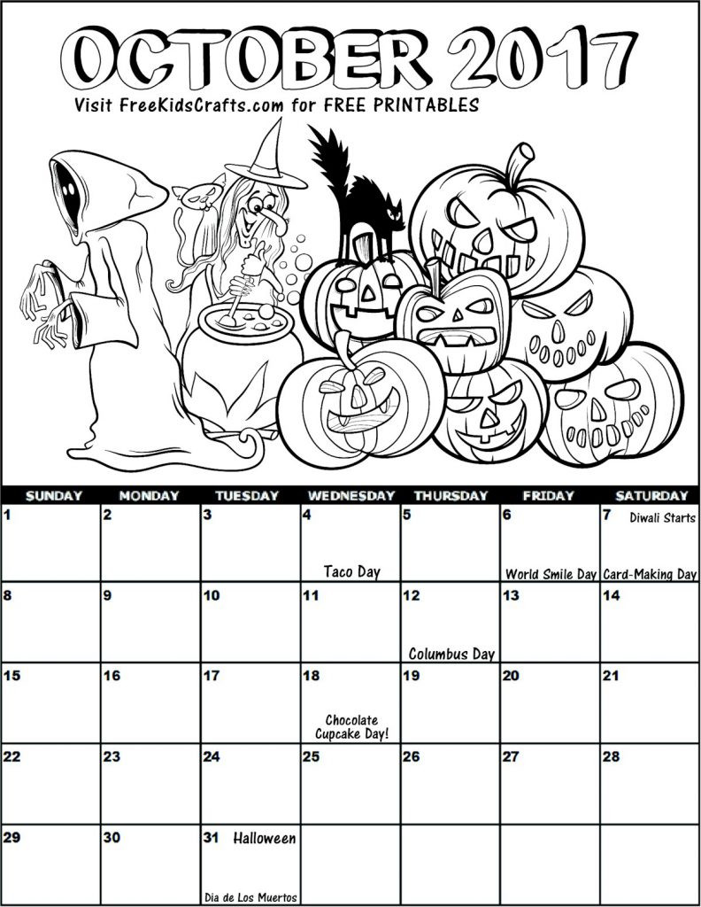 October Coloring Pages For Kids  2017 October Coloring Calendar