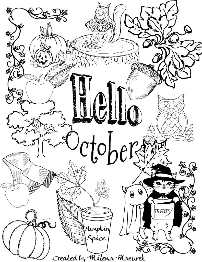 October Printable Coloring Pages  Free Hello October Coloring Page Download and Print