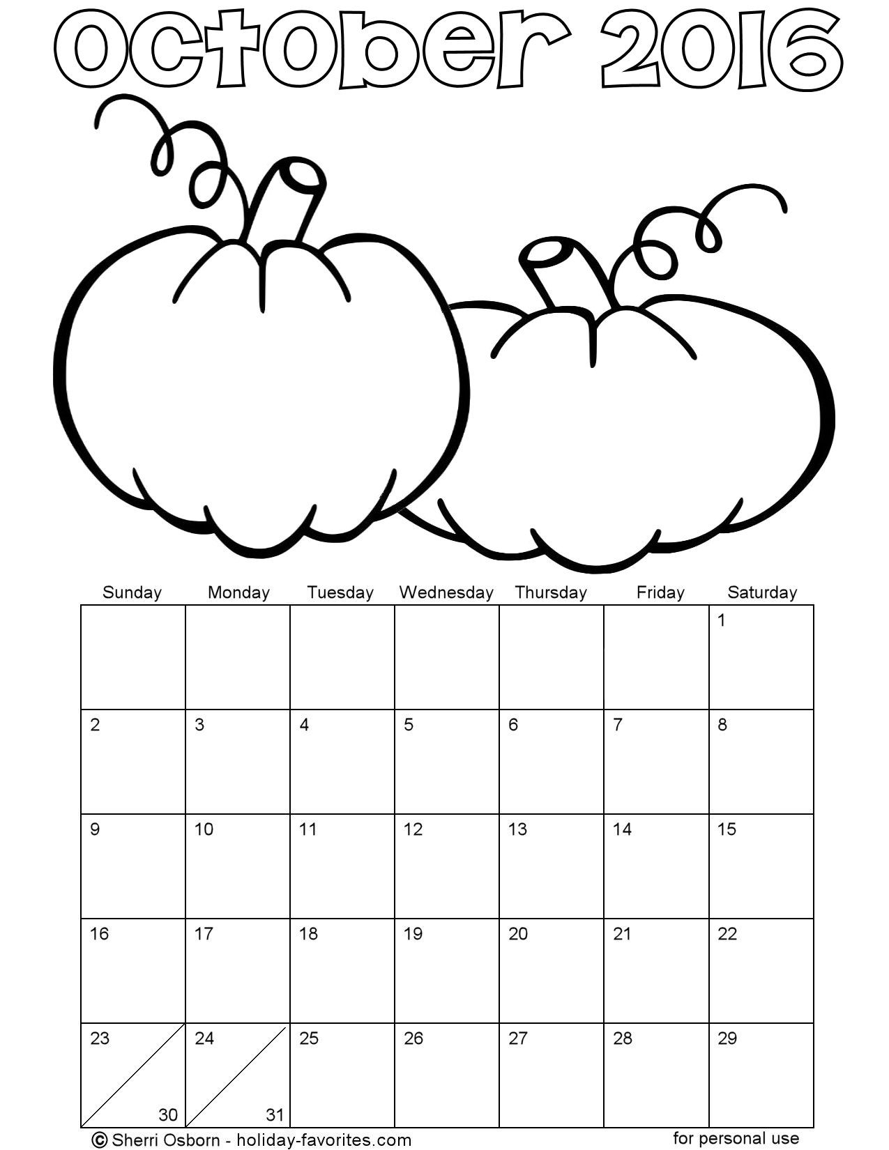 October Printable Coloring Pages  Printable October 2016 Calendars