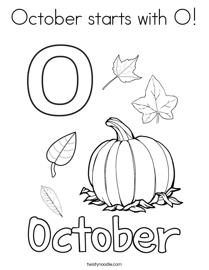 October Printable Coloring Pages  October starts with O Coloring Page Twisty Noodle