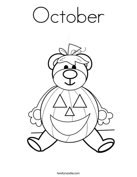 October Printable Coloring Pages  October Coloring Page Twisty Noodle