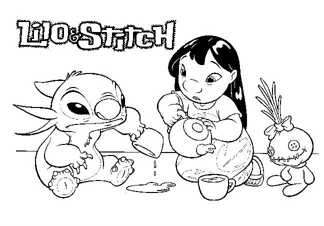 Ohana Coloring Pages  Stitch Coloring Pages Ohana Luna and Stitch Gianfreda