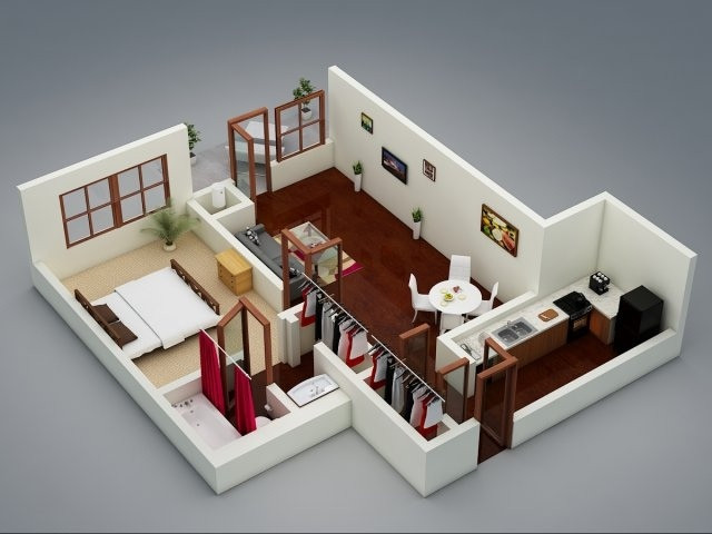 """Best ideas about One Bedroom Apartment . Save or Pin 50 e """"1"""" Bedroom Apartment House Plans Now."""