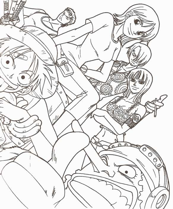 One Piece Coloring Pages  coloriage one piece nami et luffy