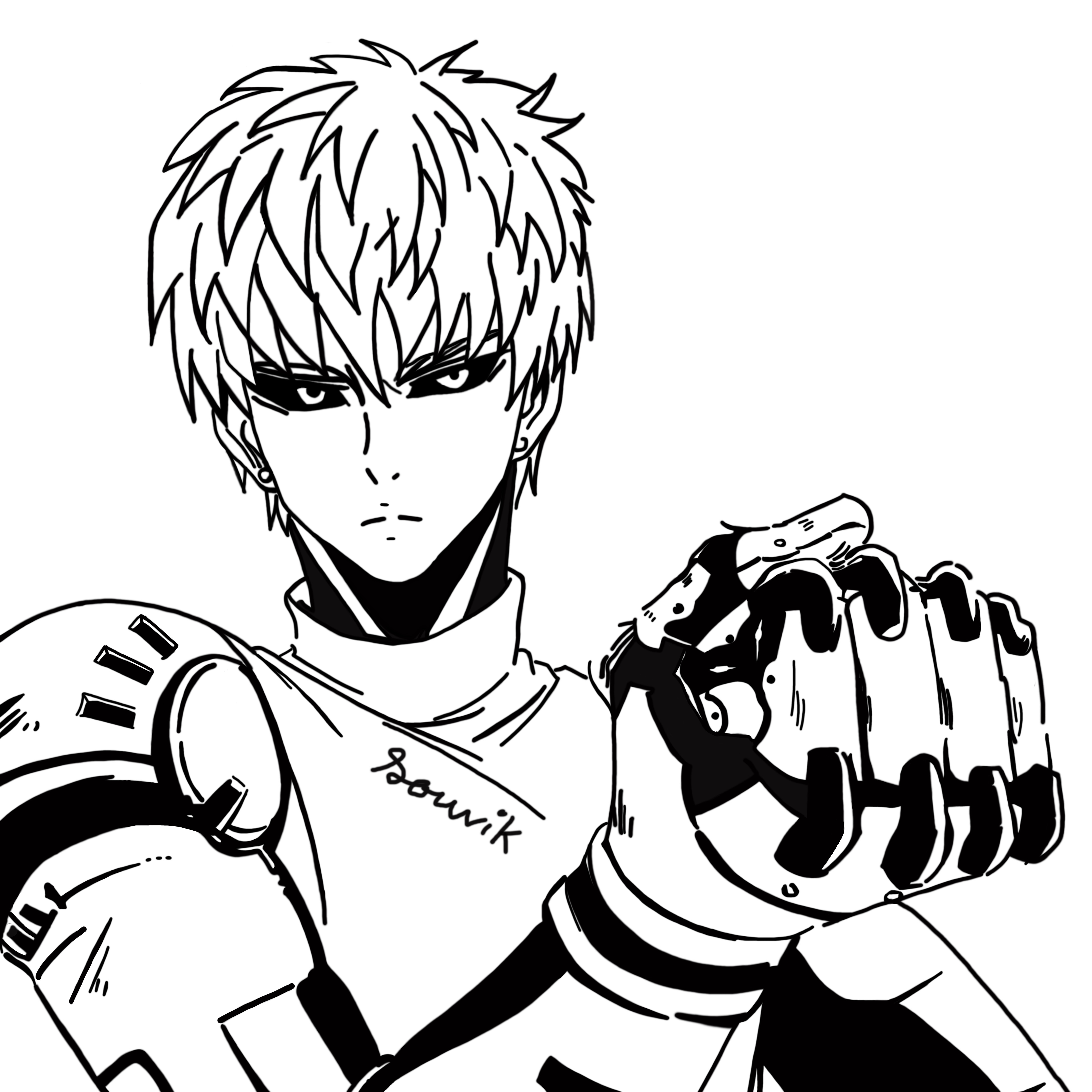 One Punch Man Coloring Pages  e Punch Man Genos Line art by Souvik071 on DeviantArt