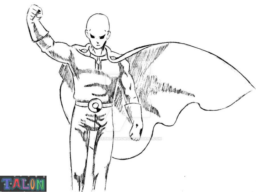One Punch Man Coloring Pages  e Punch Man Sketch by IcetalonWCW on DeviantArt