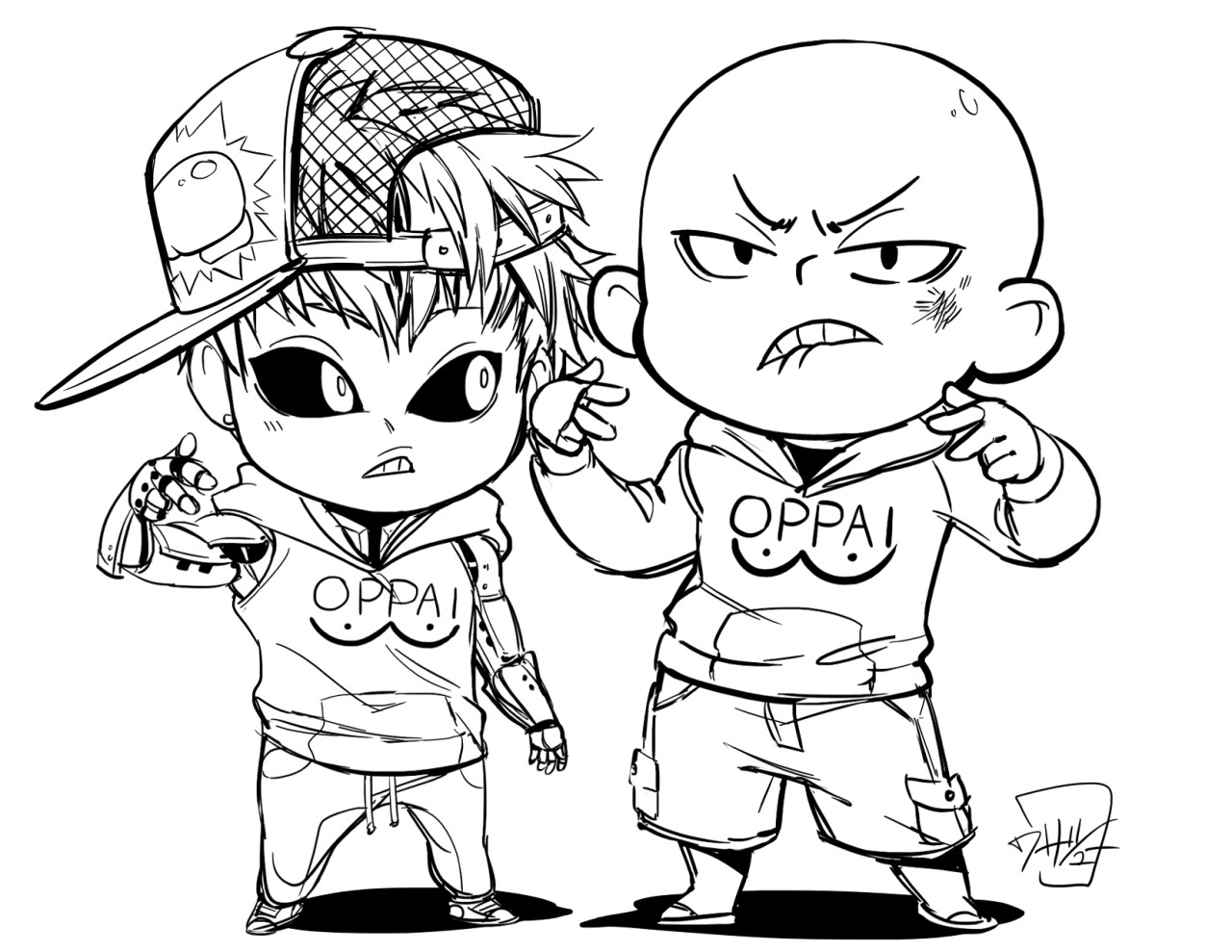 One Punch Man Coloring Pages  e Punch Man Genos and Saitama chibi repper