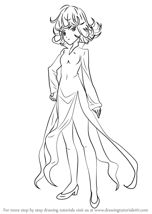 One Punch Man Coloring Pages  Step by Step How to Draw Tatsumaki from e Punch Man