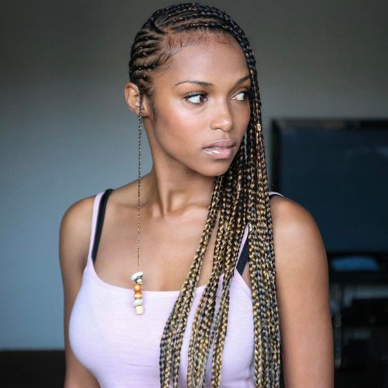 One Side Braid Hairstyles  60 Totally Chic And Colorful Box Braids Hairstyles To Wear