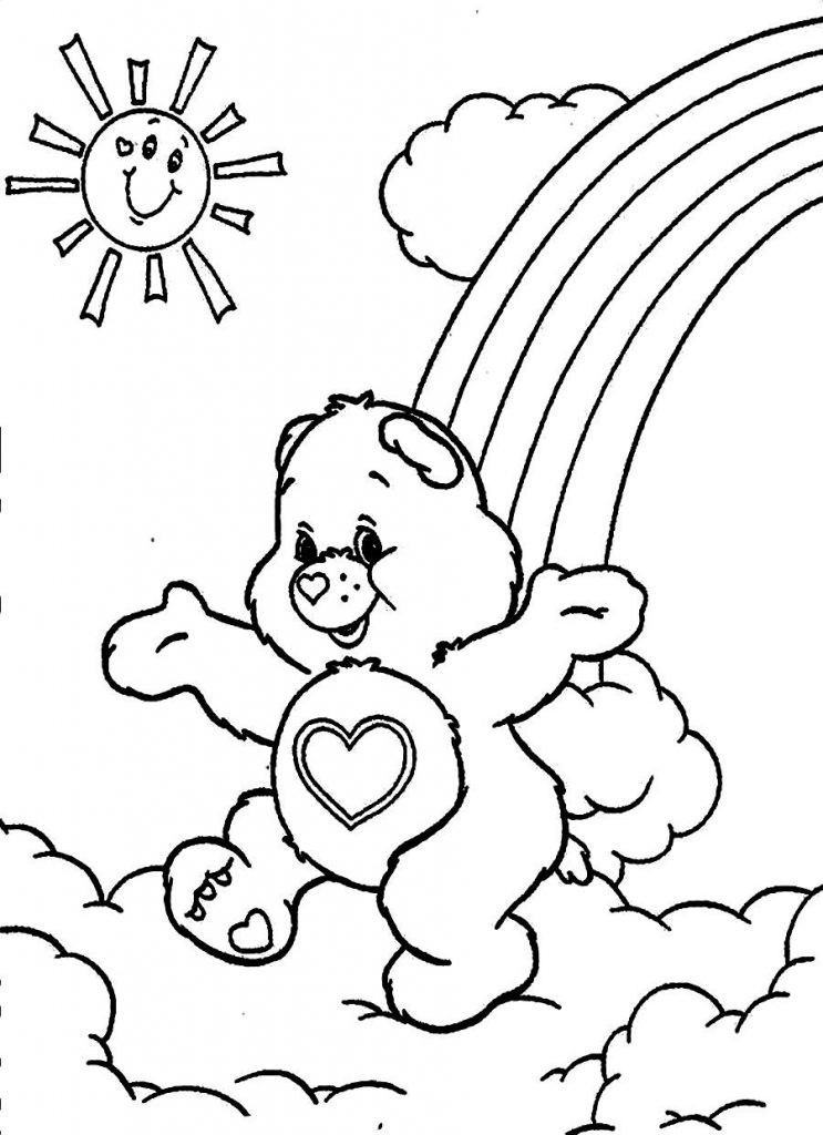 Online Coloring Sheets For Kids  Free Printable Care Bear Coloring Pages For Kids
