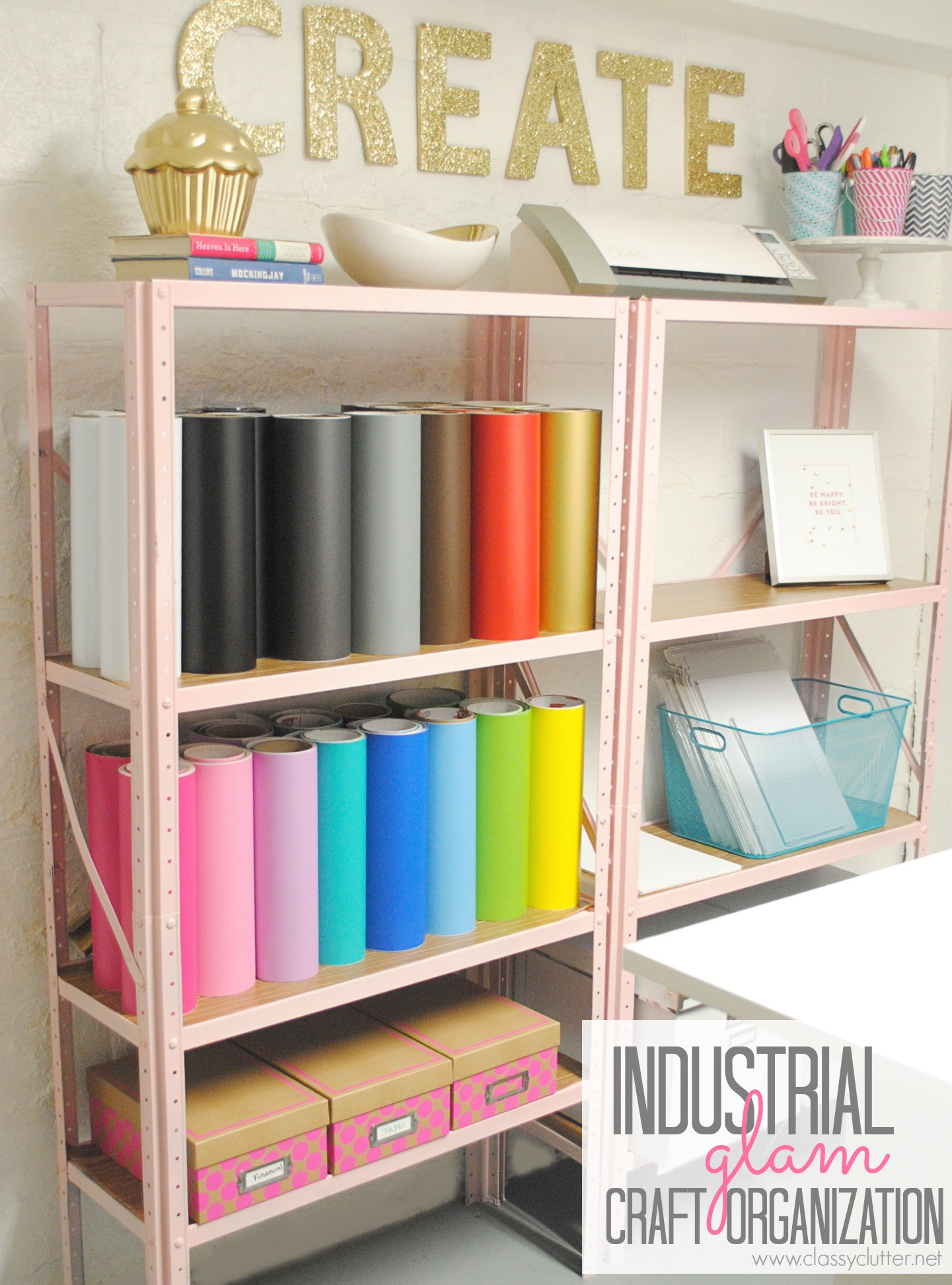 Organization Ideas For Craft Room  Inexpensive Craft Room Shelving Classy Clutter