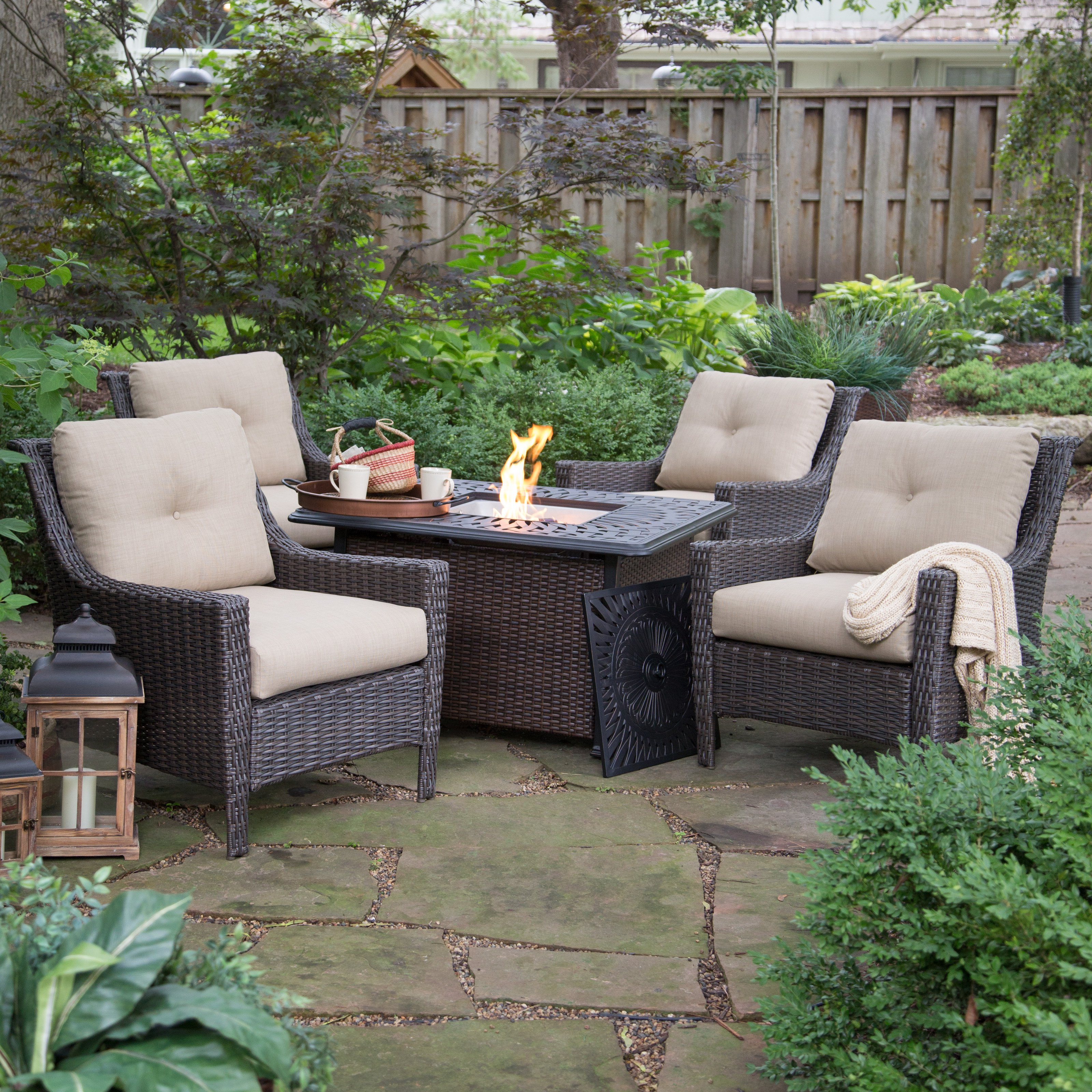 Best ideas about Outdoor Fire Pit Sets . Save or Pin Belham Living Springfield Wicker Chat Set with Florentine Now.