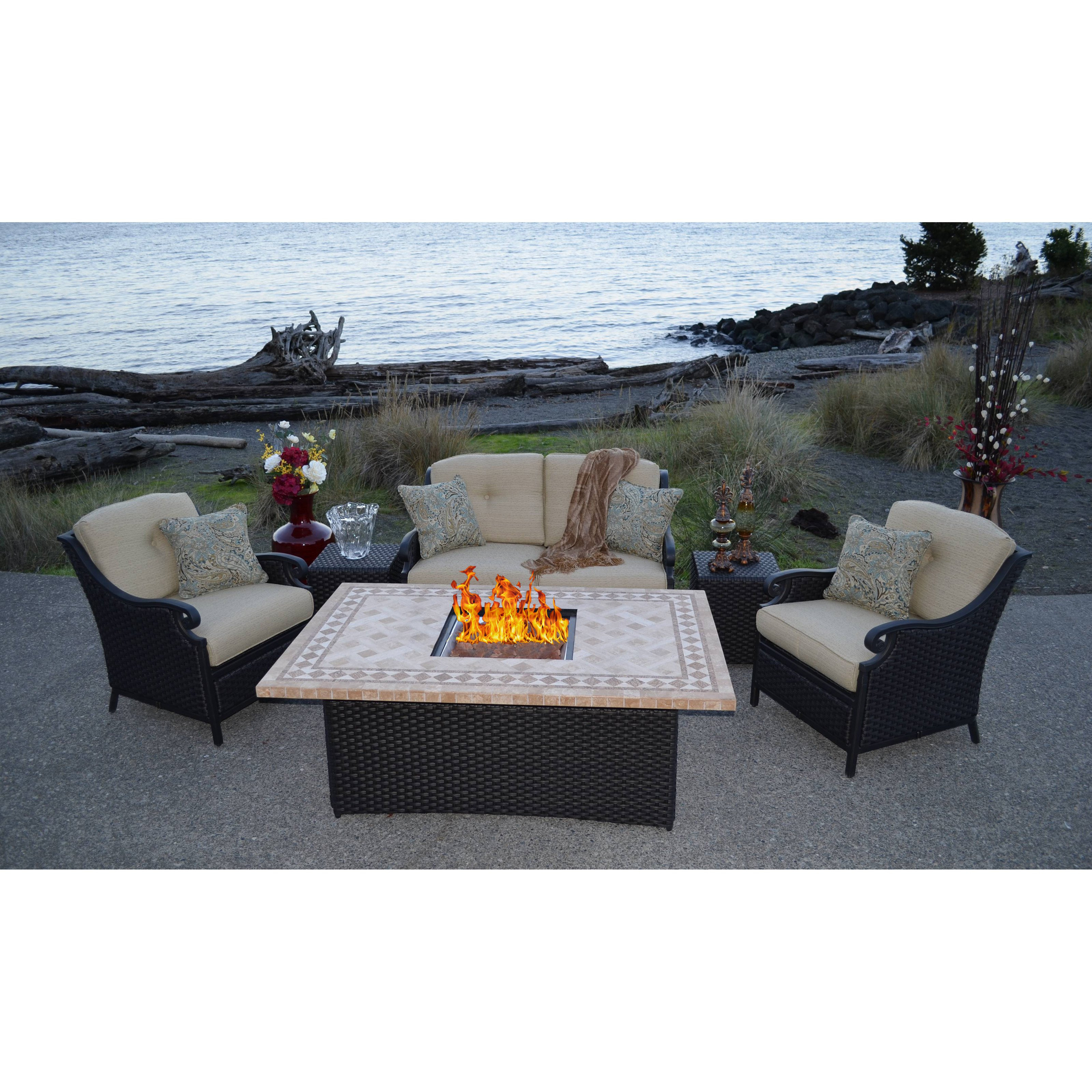 Best ideas about Outdoor Fire Pit Sets . Save or Pin Estrada All Weather Wicker Fire Pit Chat Set Fire Pit Now.