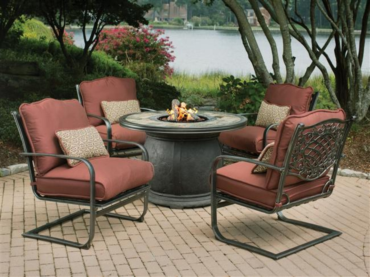 Best ideas about Outdoor Fire Pit Sets . Save or Pin Outdoor table with firepit covered patio fire pit gas Now.